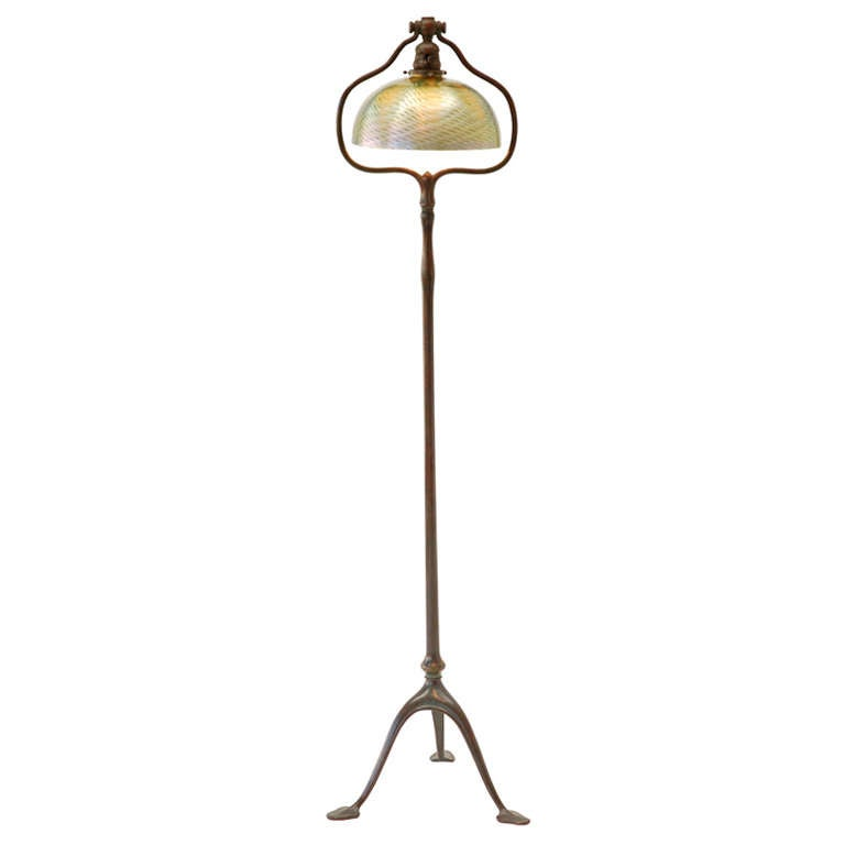 Bronze Floor Lamp with Damascene Shade by Louis Comfort Tiffany