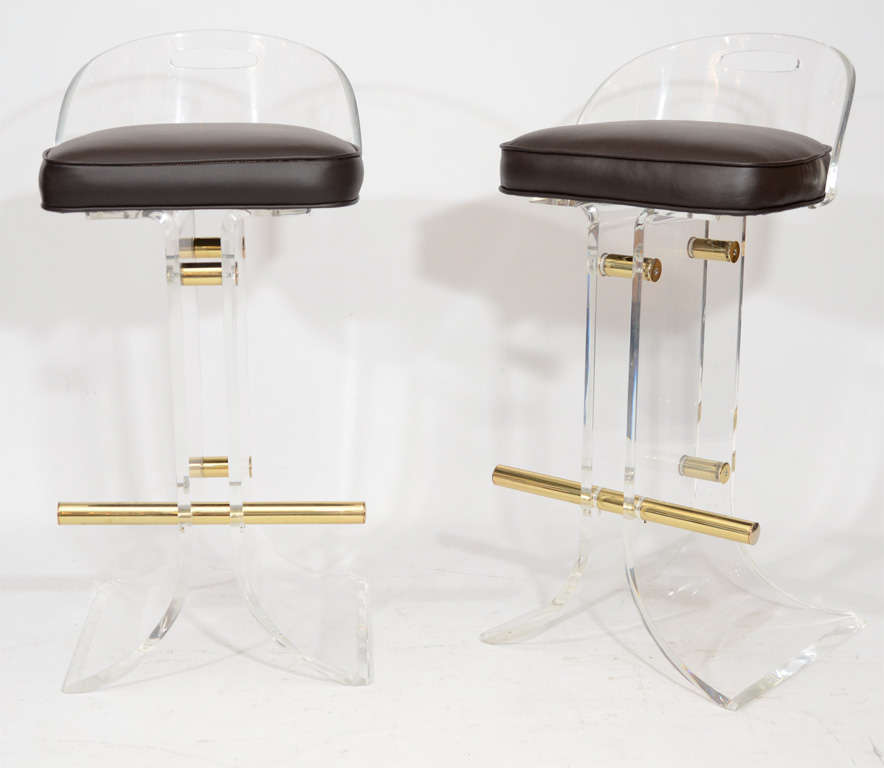 Pair Of Charles Hollis Jones Lucite Bar Stools For Sale At