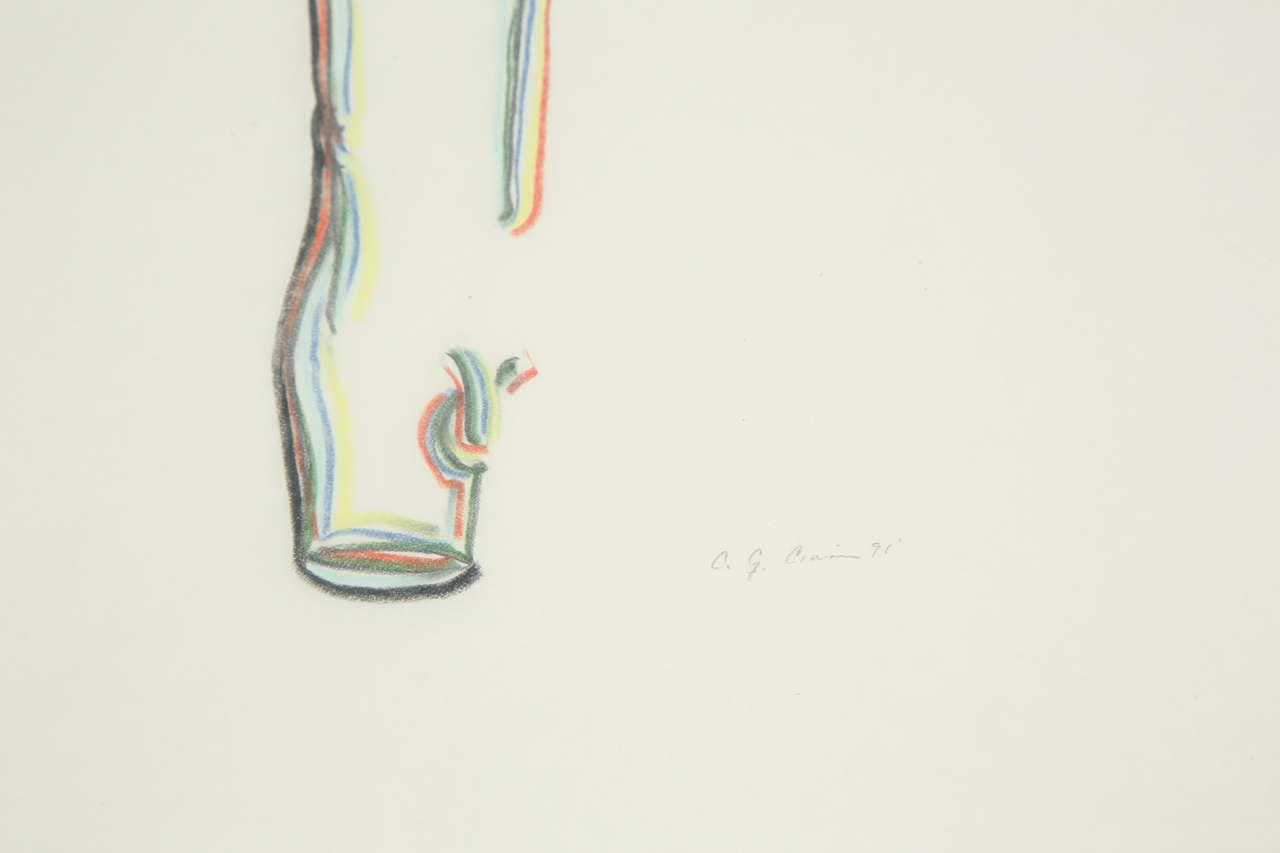 Modern A Set of 3 Colored Pencil Drawings For Sale