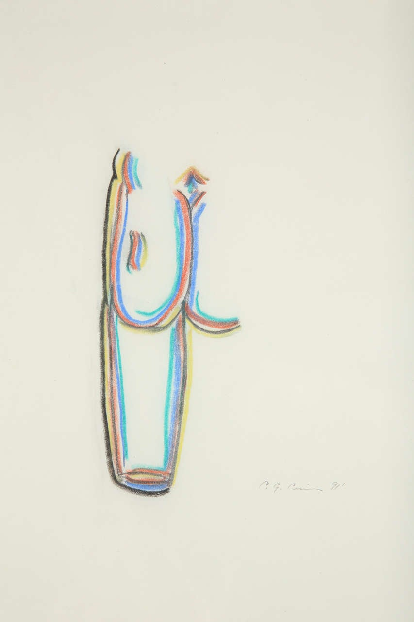 American A Set of 3 Colored Pencil Drawings For Sale