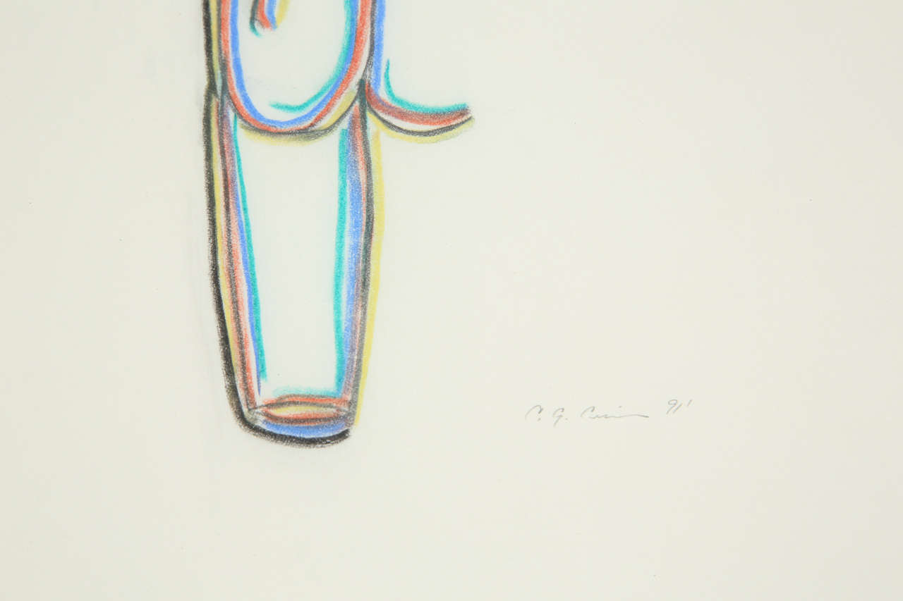A Set of 3 Colored Pencil Drawings In Good Condition For Sale In Los Angeles, CA