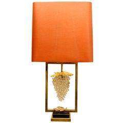 C.1950 Gilt Bronze Lamp with Murano Grape Cluster