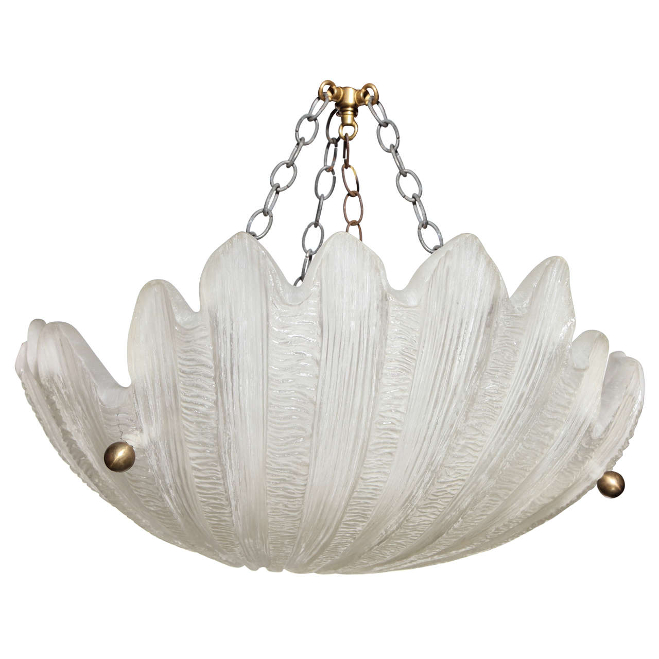 Craig Corona for Sirmos Co. Sheer Frosted Scallop Shell Hanging Lamp, C. 1970