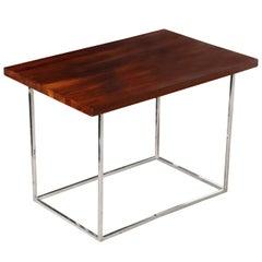 Milo Baughman for Thayer Coggin Solid Dark Walnut & Chrome Occasional Table
