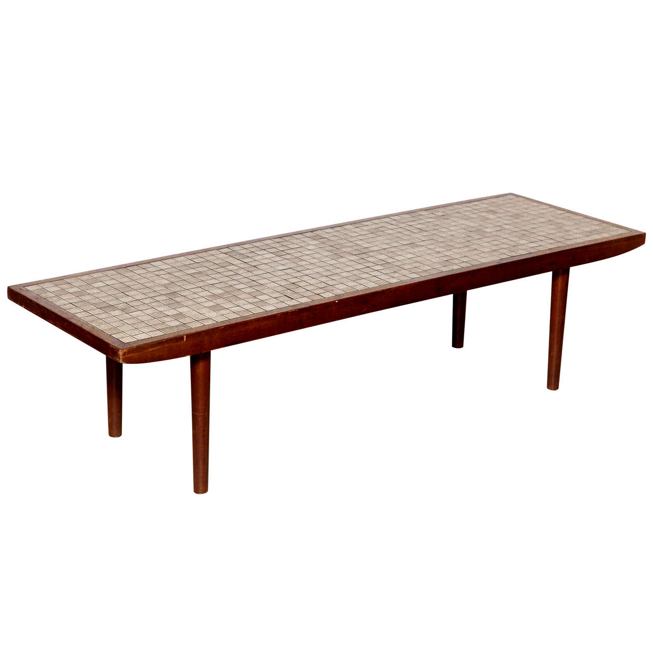 Jane and Gordon Martz Walnut and Neutral Ceramic Tile-Top Coffee Table, 1960s