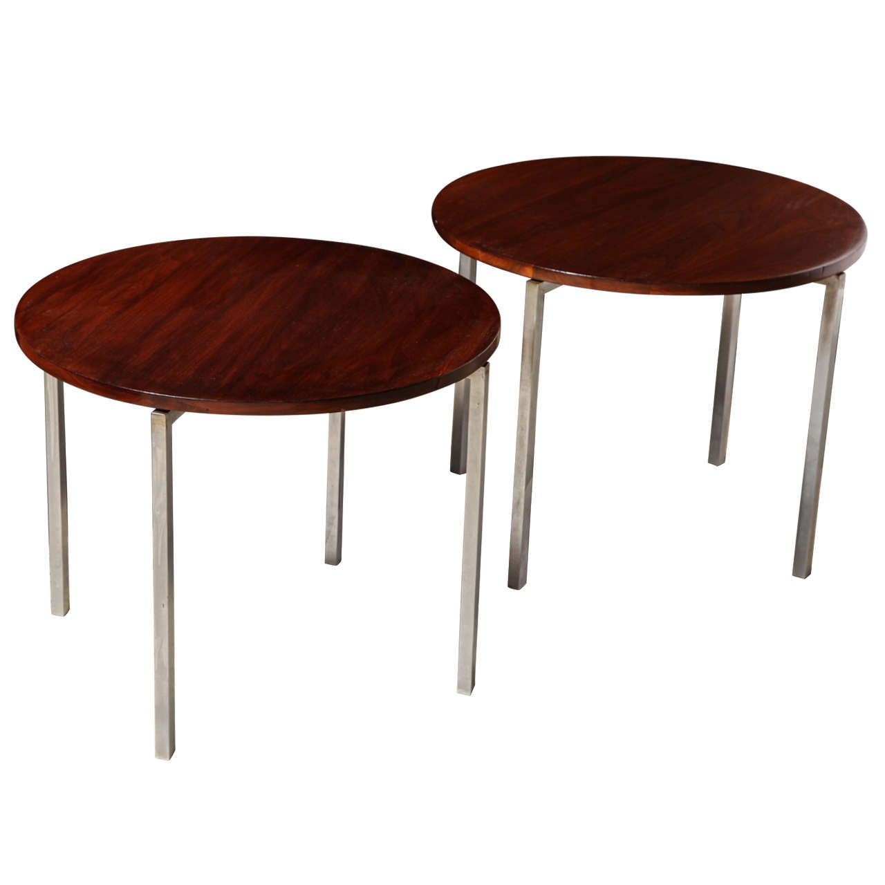 Round Coffee Table Pair: Pair Of Round 1960's Knoll Brushed Steel And Walnut