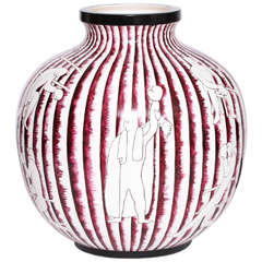 Gio Ponti Boxing Vase, Earthenware for Richard Ginori, Milano, circa 1930