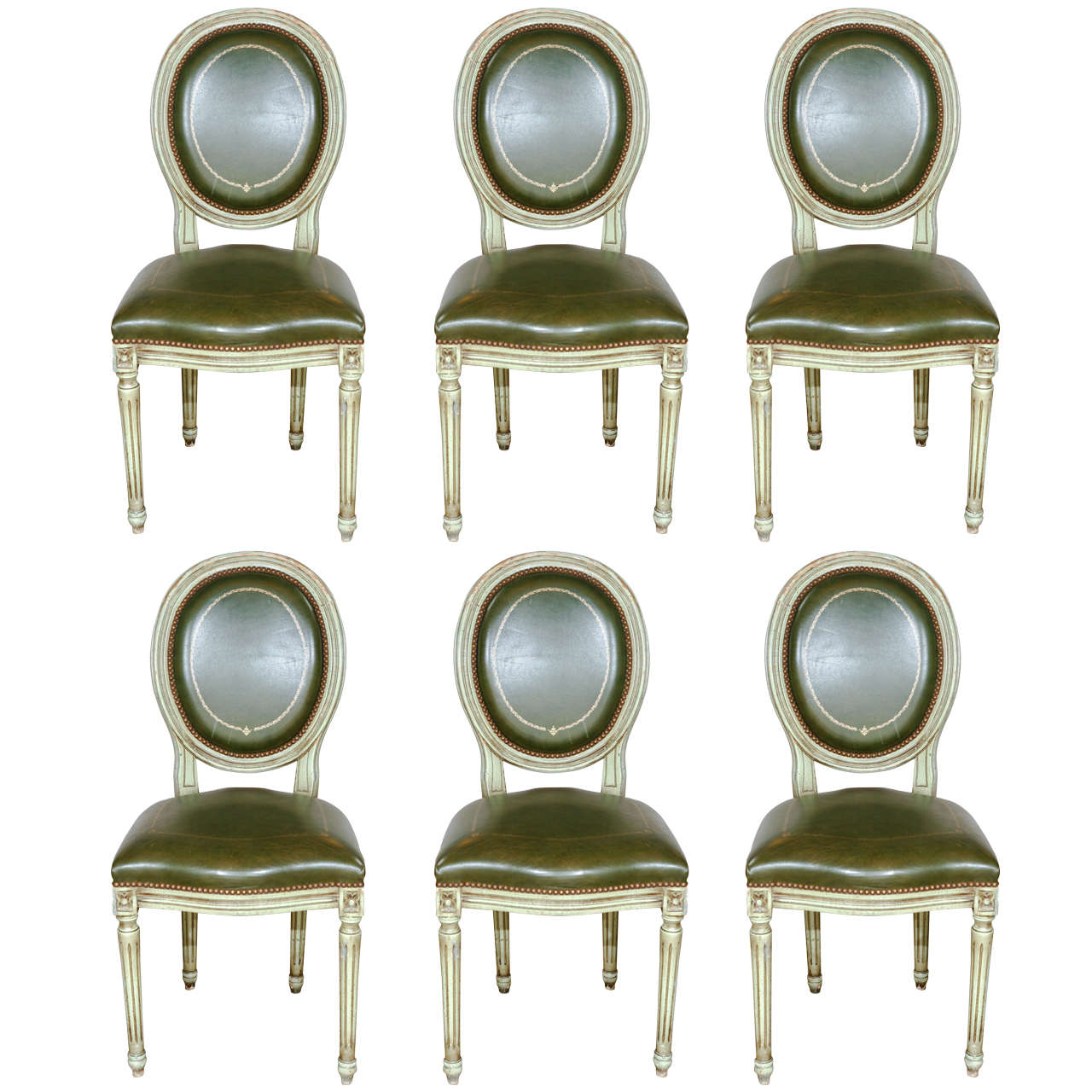 Set of 6 French Louis XVI-style Dining Chairs, circa 1900