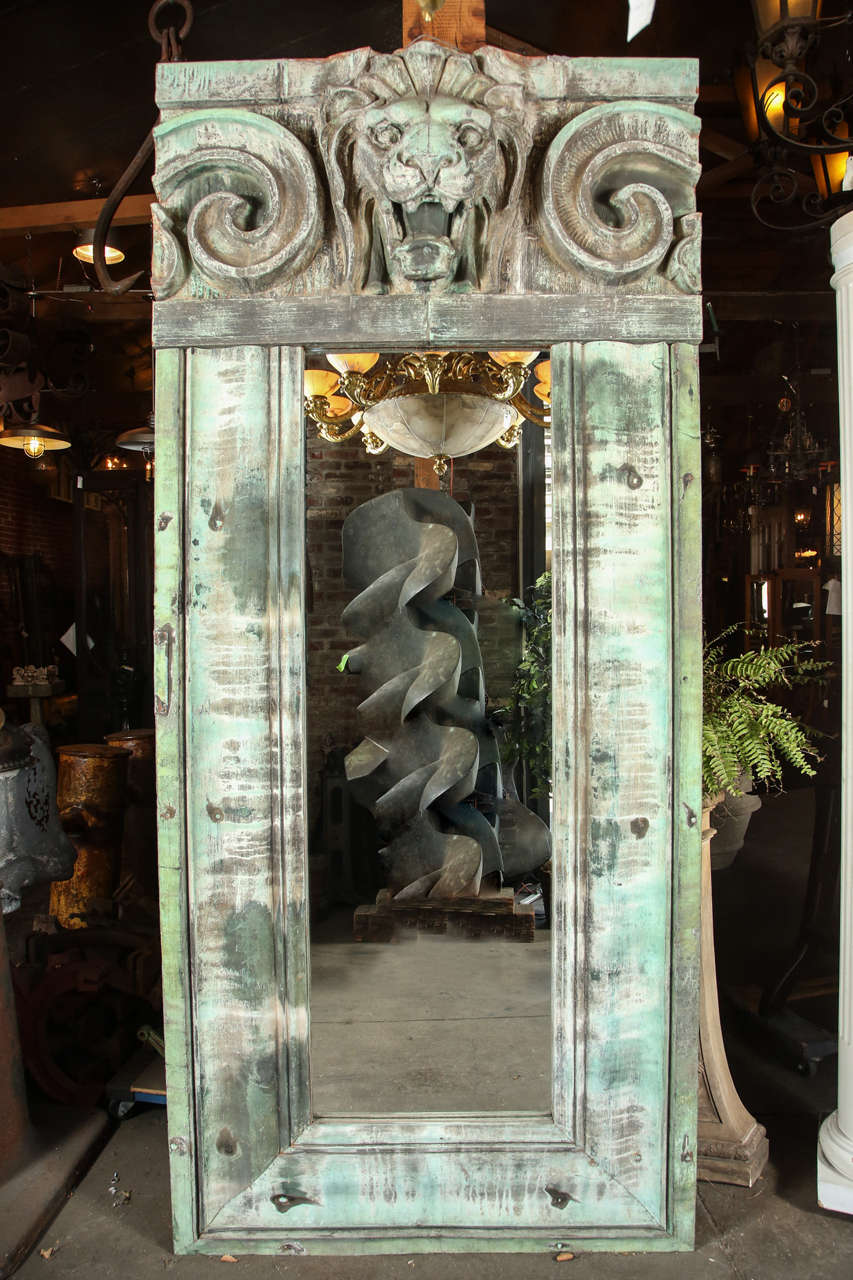Mirror Made From Salvaged Copper Cornice With Lion Head