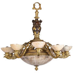Bronze and Alabaster Chandelier