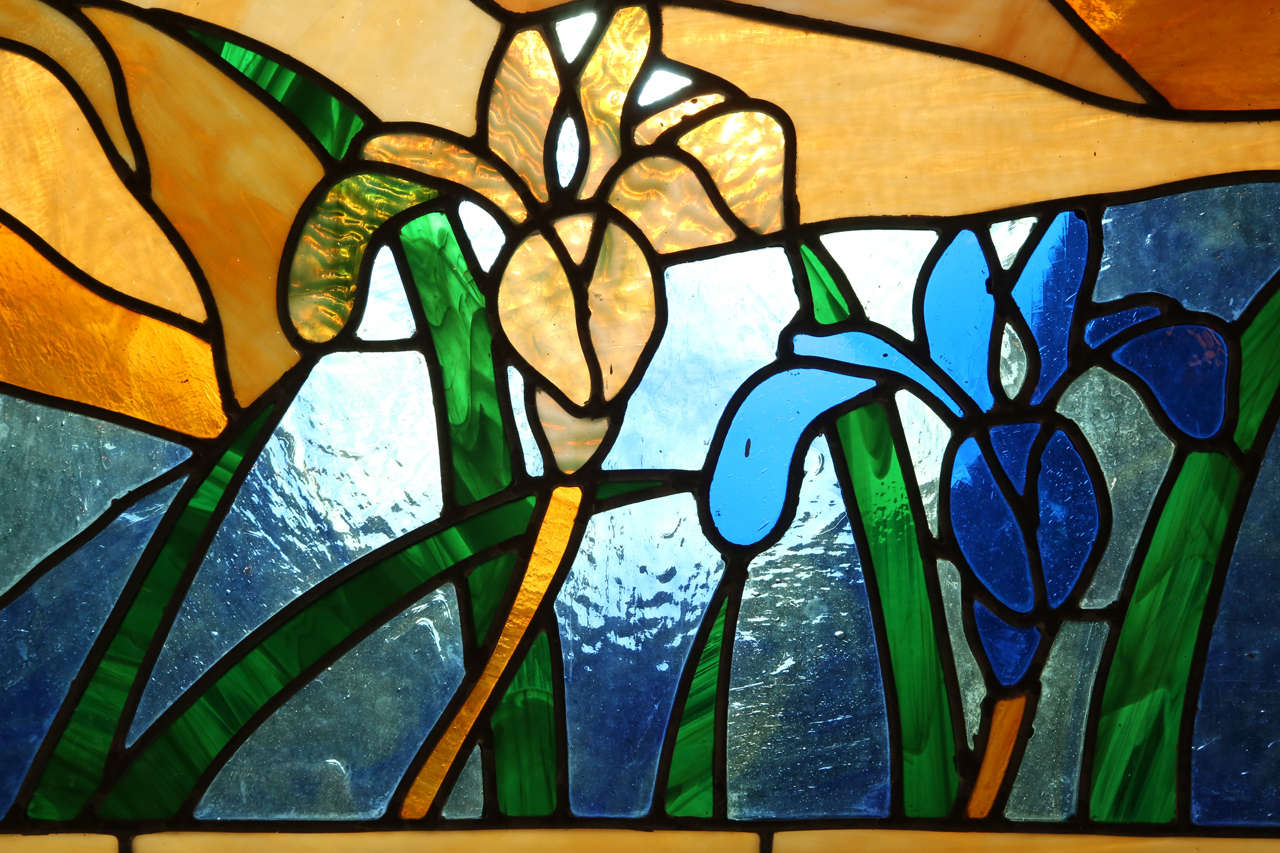 1980 S Stained Glass Lamp : Picturesque s stained glass at stdibs
