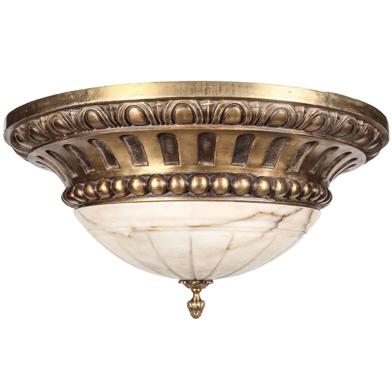 Bronze and Alabaster Flush Mount Light For Sale at 1stdibs