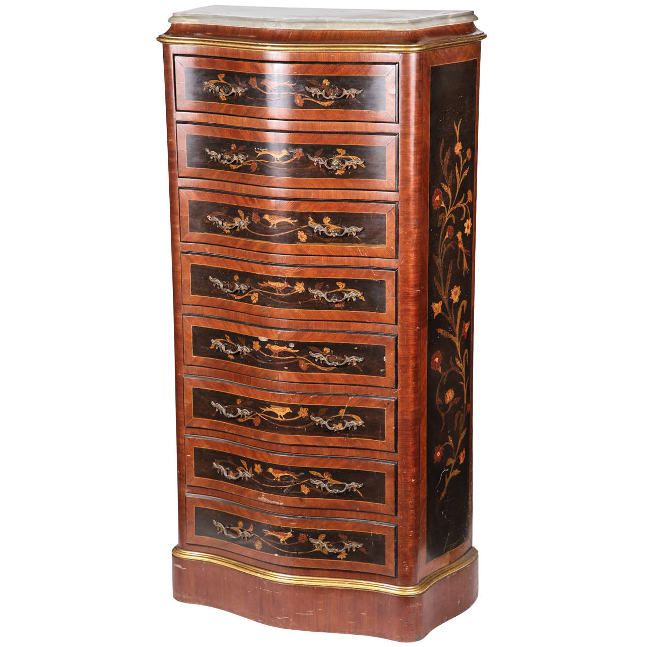 Tall Inlaid Eight Drawer Lingerie Chest At 1stdibs