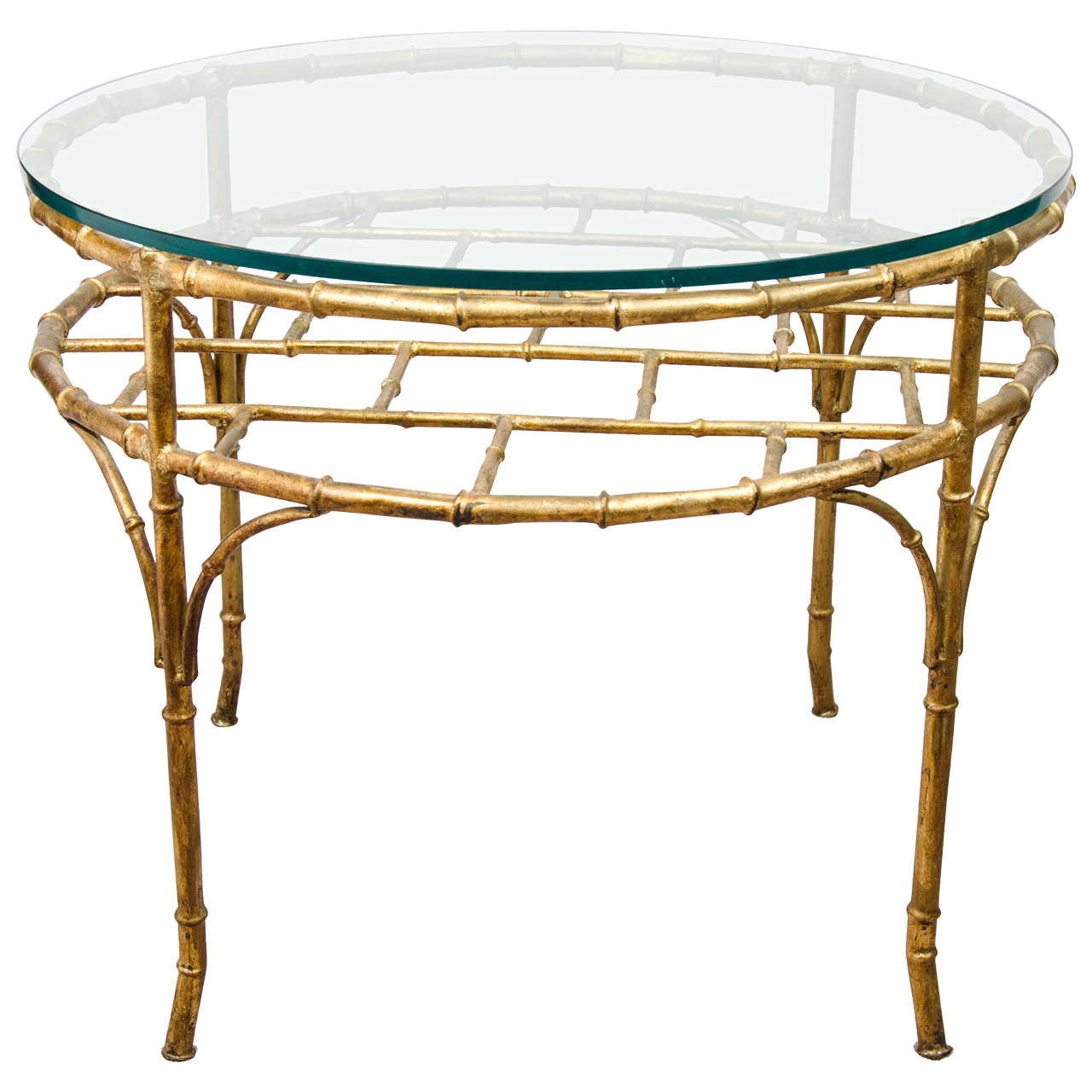 Gilt-metal faux-bamboo occasional table, 1950s