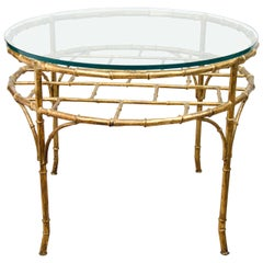Mid Century Gilt Metal Faux Bamboo Occasional Table