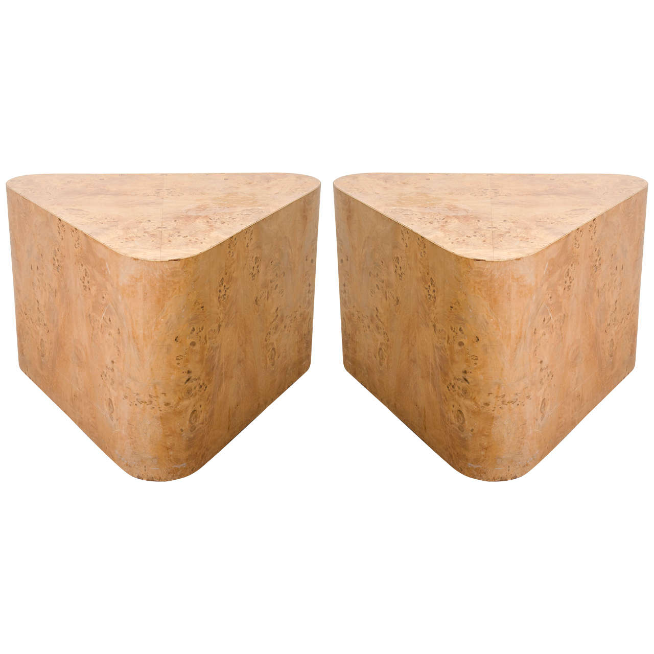 Midcentury Pair of Triangular Burled Wood Side Tables at 1stdibs