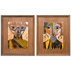 Pair of Mid Century Enamel Portraits by Judith Danner