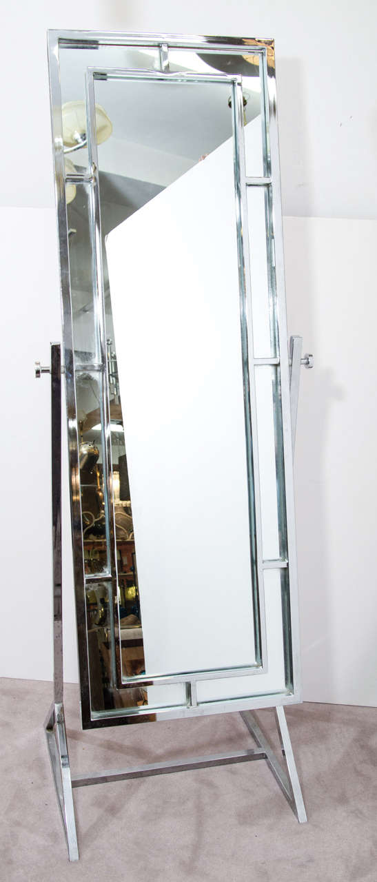 Midcentury chrome mirror in the style of milo baughman at for Floor length vanity mirror