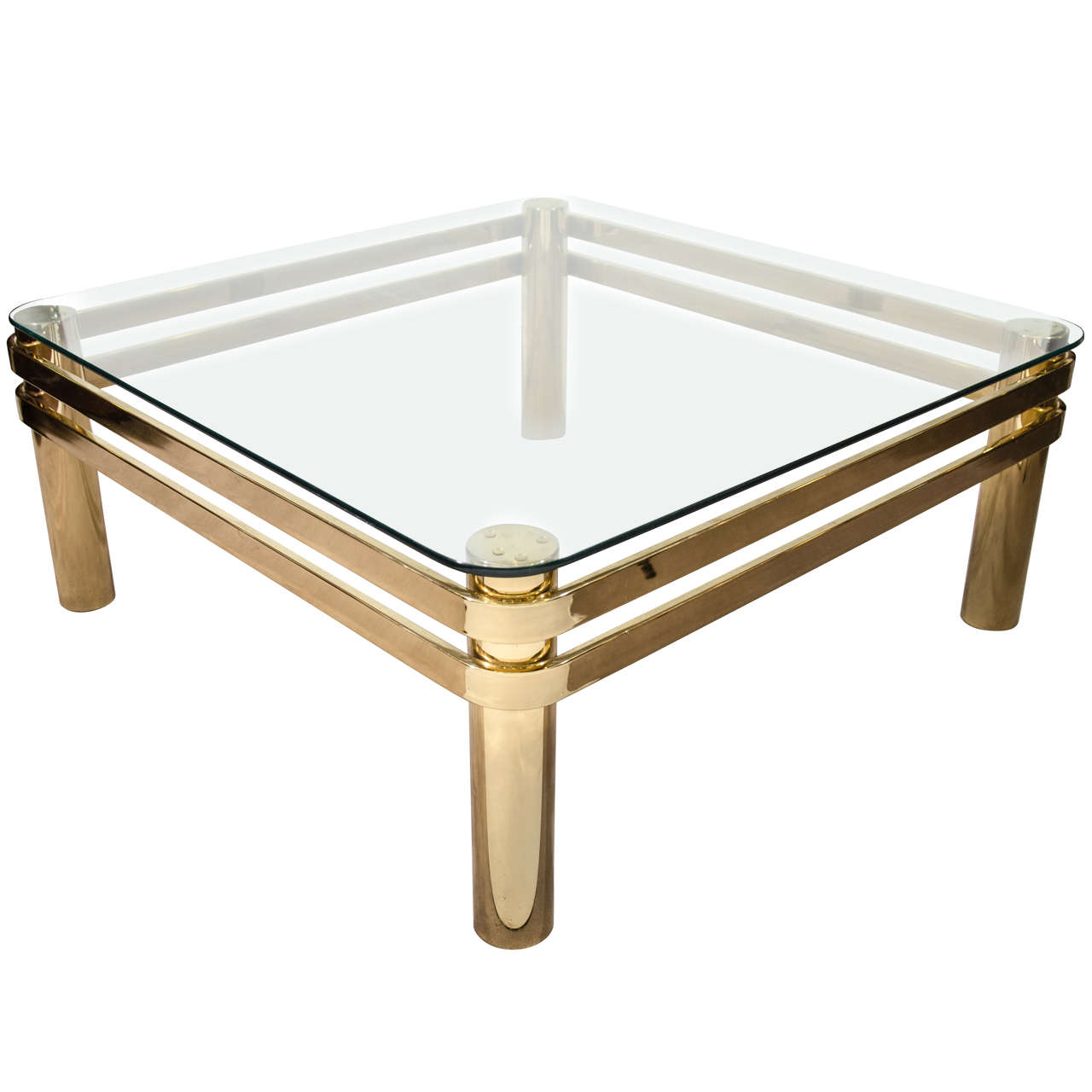 Brass And Glass Coffee Table With Ribbon Band Detailing At