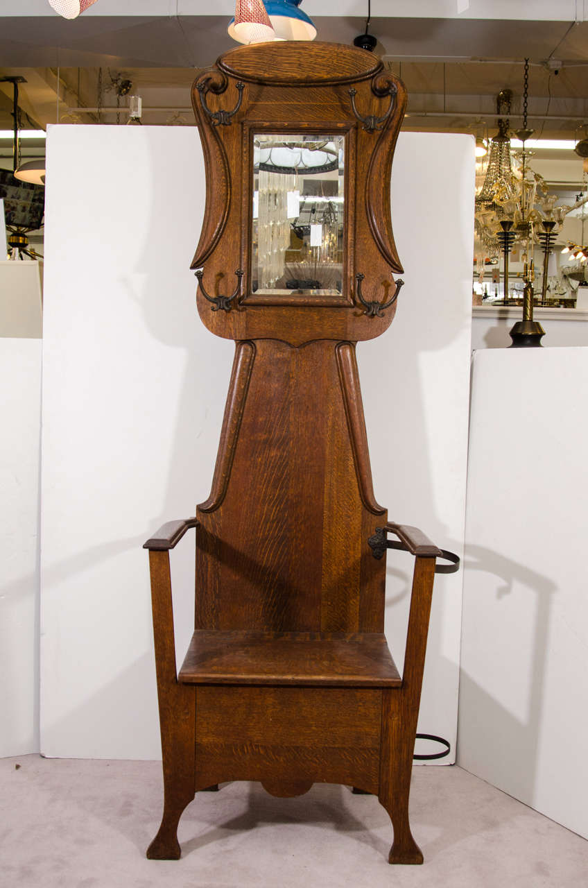 Antique Chair Form Victorian Oak Hall Tree Image 2