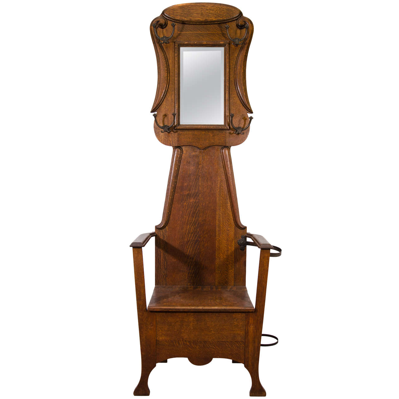 Antique Chair Form Victorian Oak Hall Tree At 1stdibs
