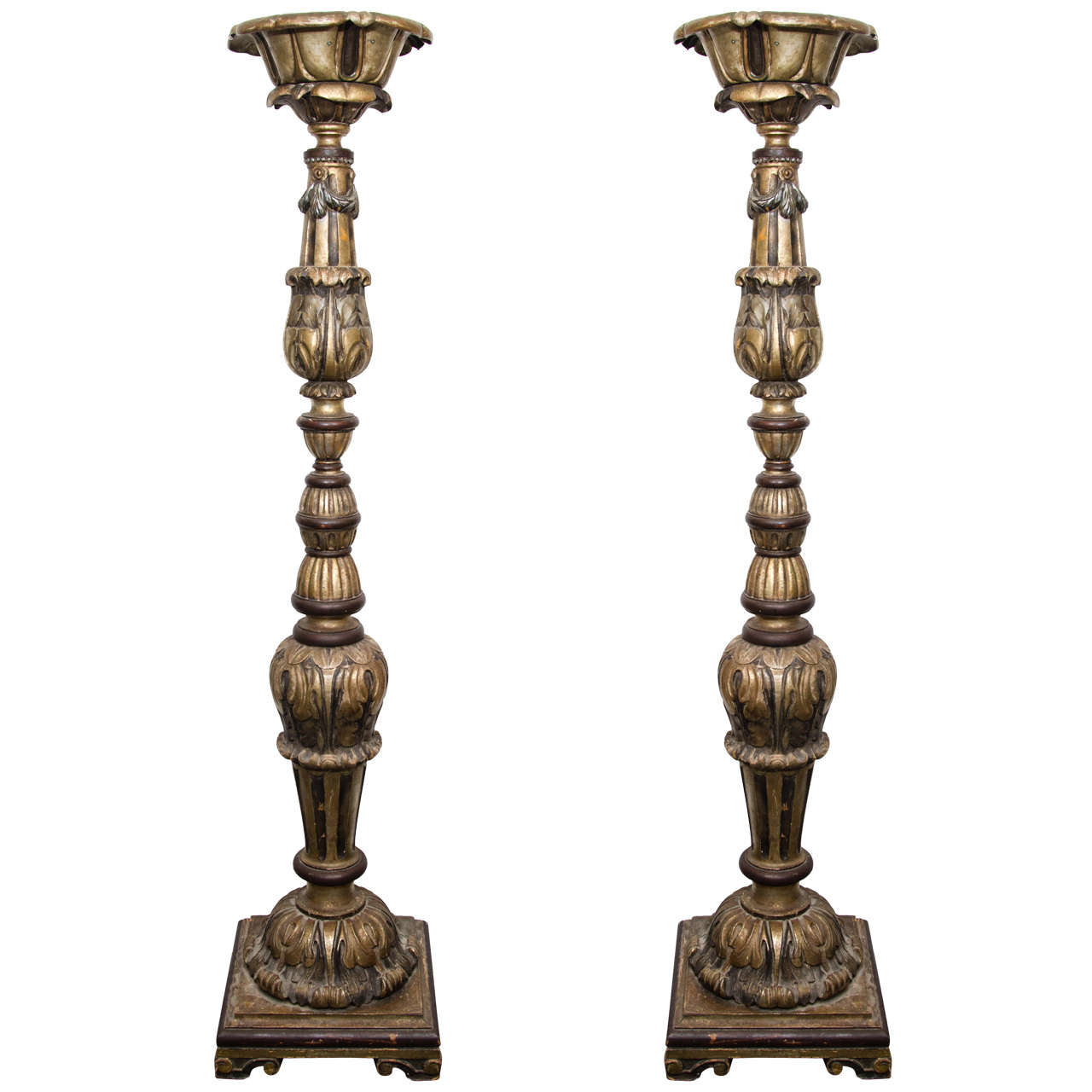 incredible unique pair of monumental hand carved floor lamps for sale