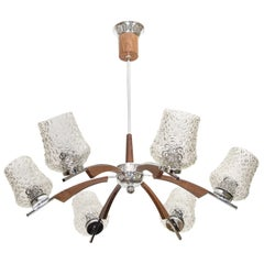 Midcentury European Chandelier w/ Wood and Crystal Accents
