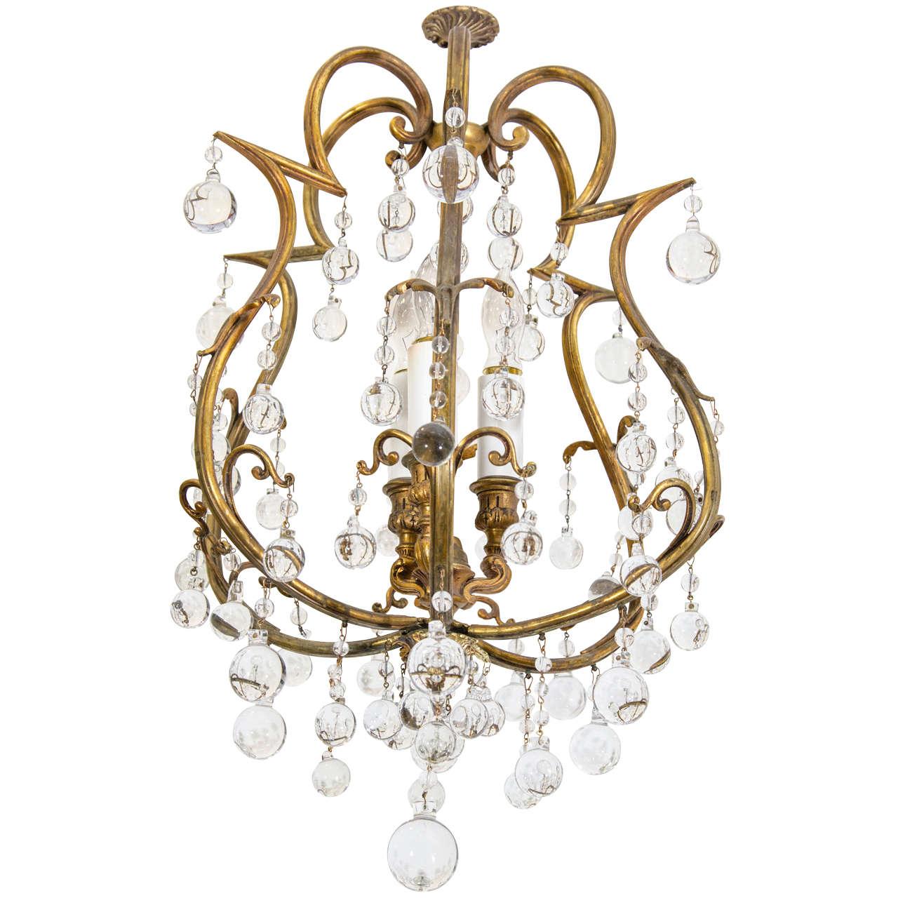 Hollywood regency gilt petite chandelier w crystal beads at 1stdibs hollywood regency gilt petite chandelier w crystal beads for sale aloadofball Images