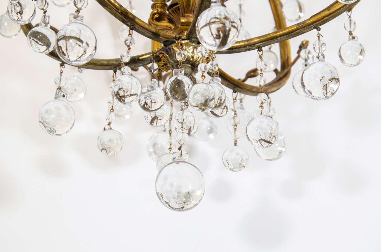 Hollywood regency gilt petite chandelier w crystal beads at 1stdibs hollywood regency gilt petite chandelier w crystal beads for sale 2 aloadofball Images
