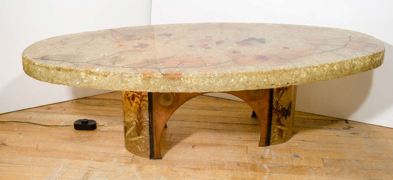 A Vintage Oval Coffee Or Cocktail Table With An Amber Resin Surface And  Interior Lighting.
