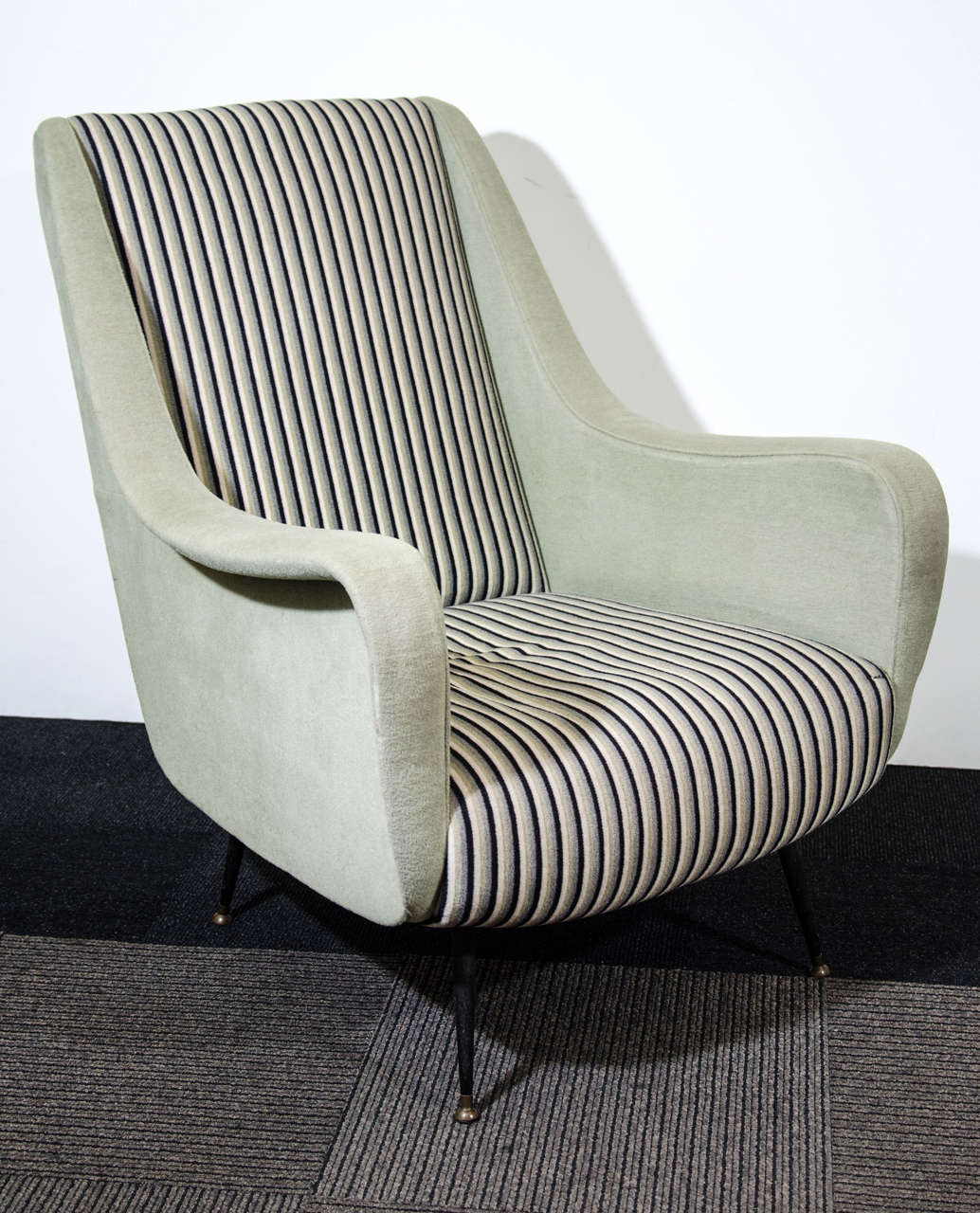 A Mid Century Pair Of Italian Arm Chairs W Striped