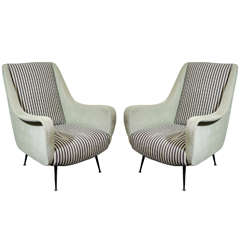 A Mid Century Pair of Italian Arm Chairs w/ Striped Upholstery
