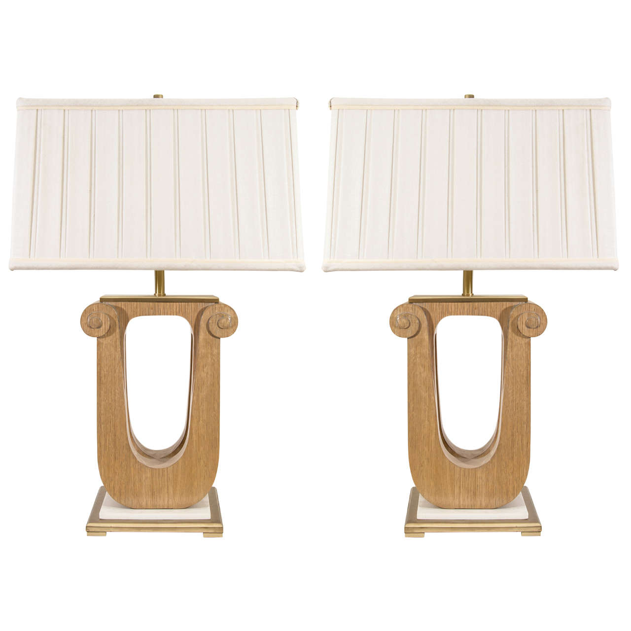 Pair of vintage art deco style wooden lamps at 1stdibs for Deco style retro