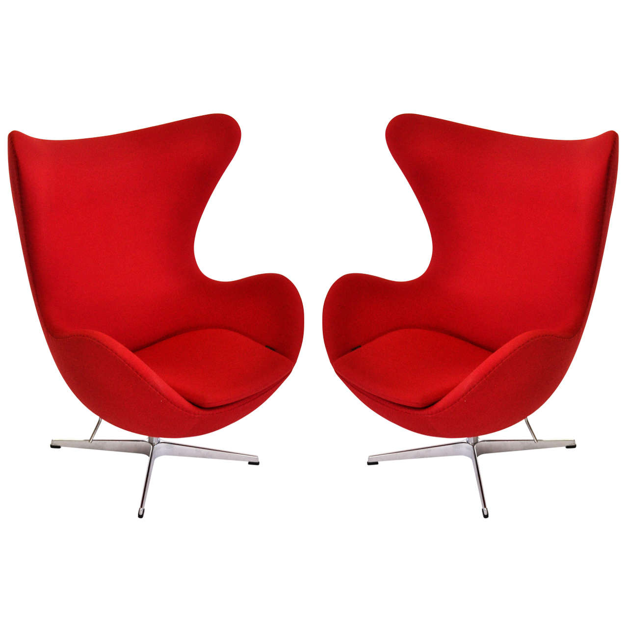 pair of arne jacobsen egg chairs fritz hansen at 1stdibs. Black Bedroom Furniture Sets. Home Design Ideas