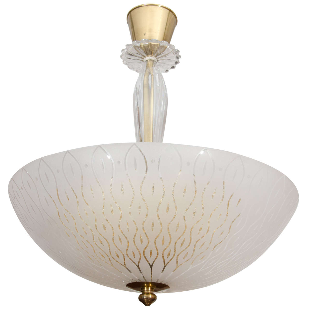 Orrefors Art Glass Light Fixture with Internal Golden Diffuser