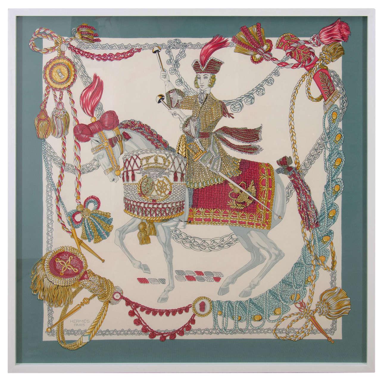Hermes Silk Scarf, Festooned Horse and Rider, France ...