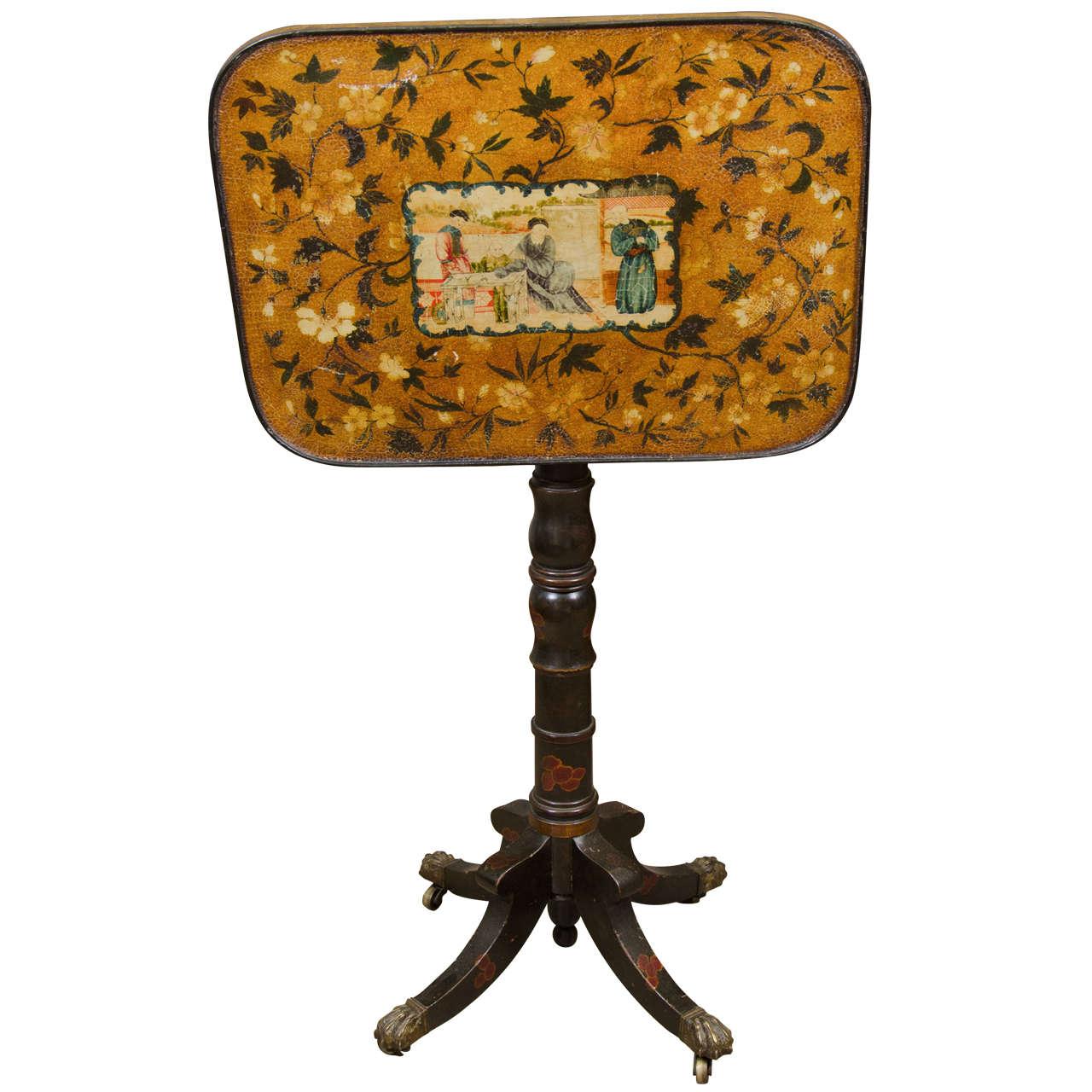Rare Regency Chinoiserie Tilt-Top Table
