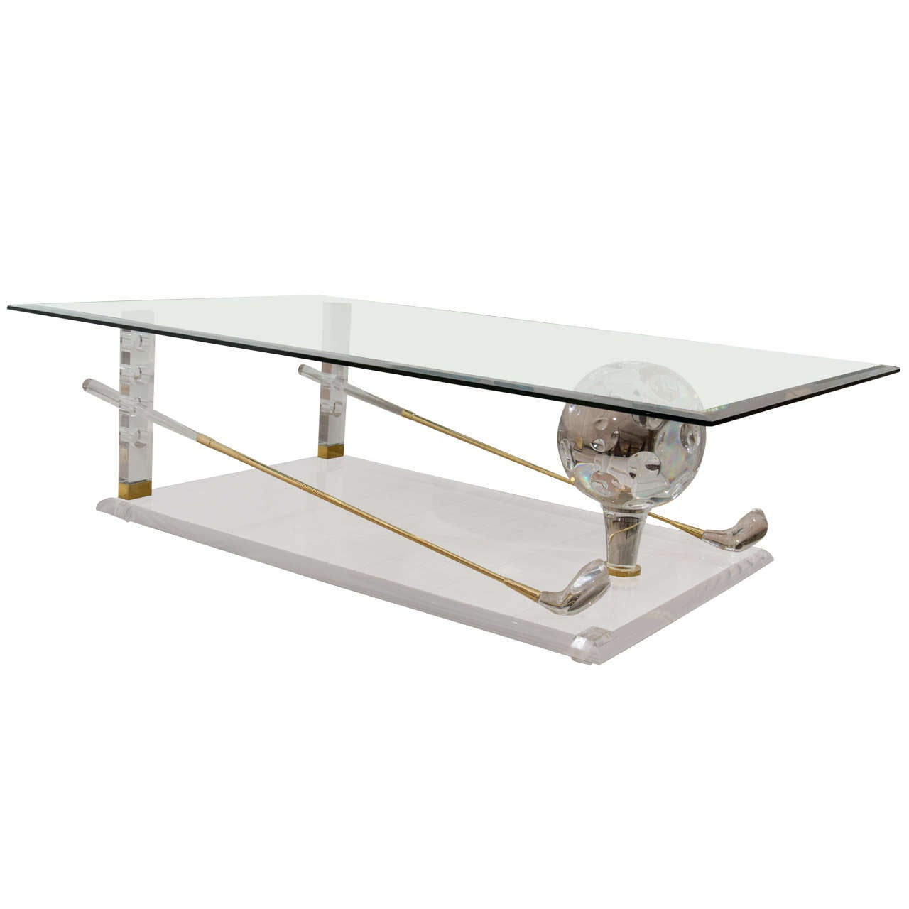 Brass lucite and glass quotgolfquot themed coffee table at 1stdibs for Themed coffee tables