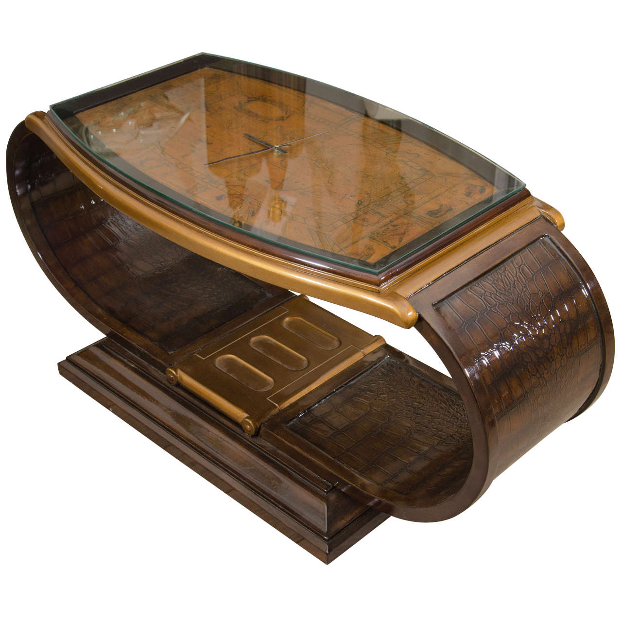 Lacquered Wood Watch Form Coffee Table For