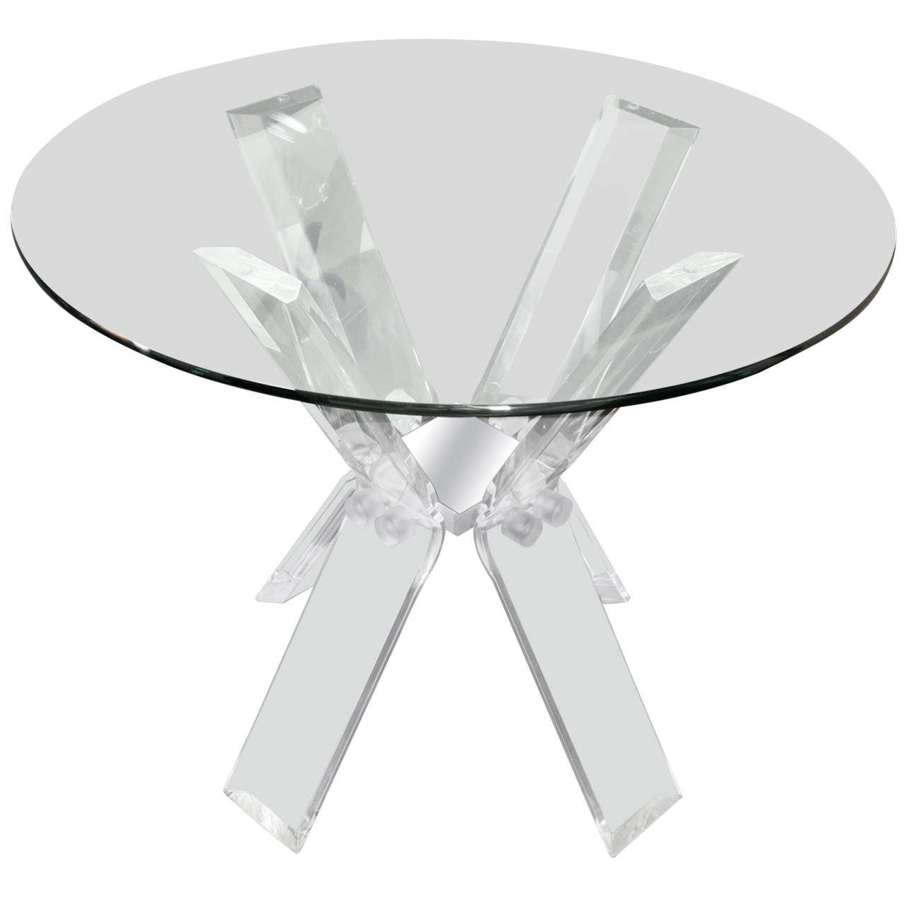 Lucite Table Base With Glass Top 1