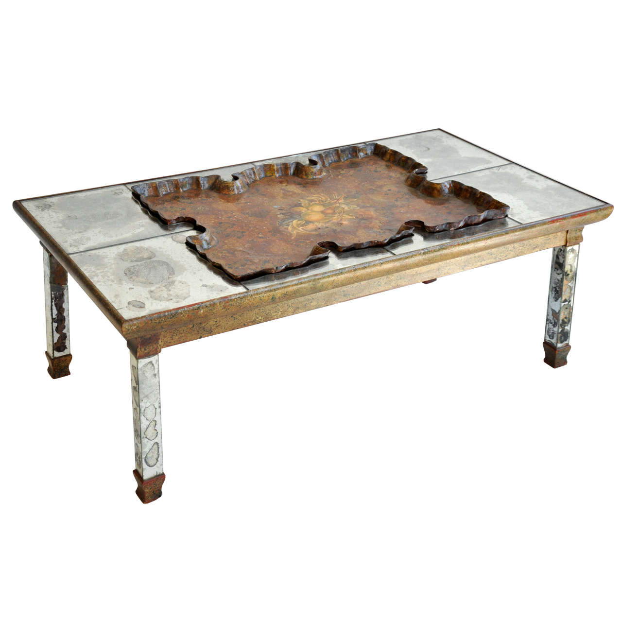 Mirrored Cocktail Table With Scalloped Tray At 1stdibs