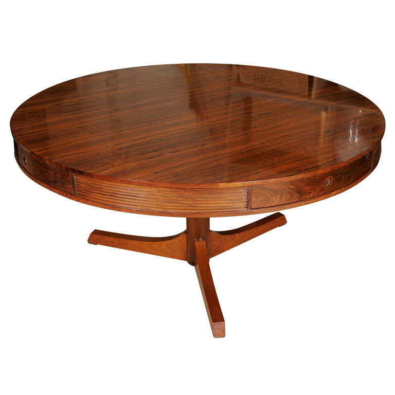 A robert heritage circular rosewood centre table at 1stdibs for Furniture centre table