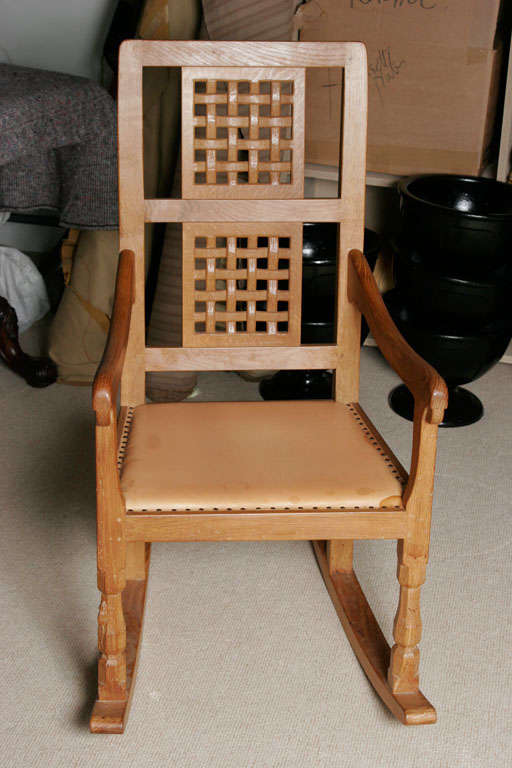 "A Robert ""Mouseman"" Thompson Oak Rocking Chair at 1stdibs"