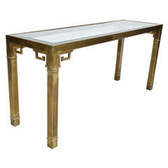 Chinoiserie Brass and Glass Long Console by Mastercraft