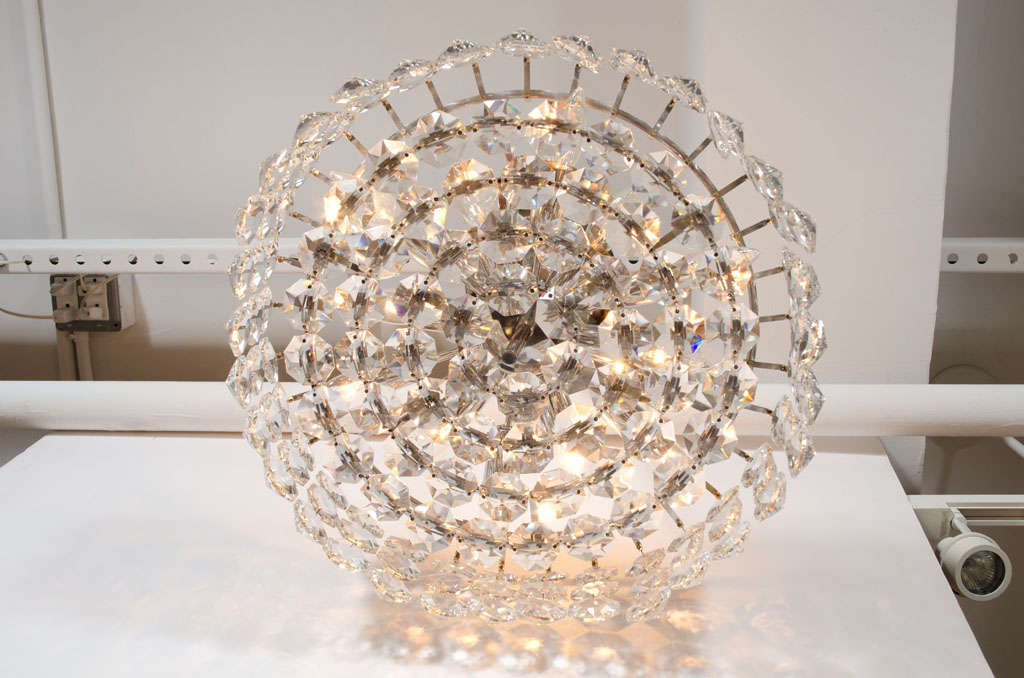 Crystal Drum Chandelier By Bakalowits And Sohne For Sale