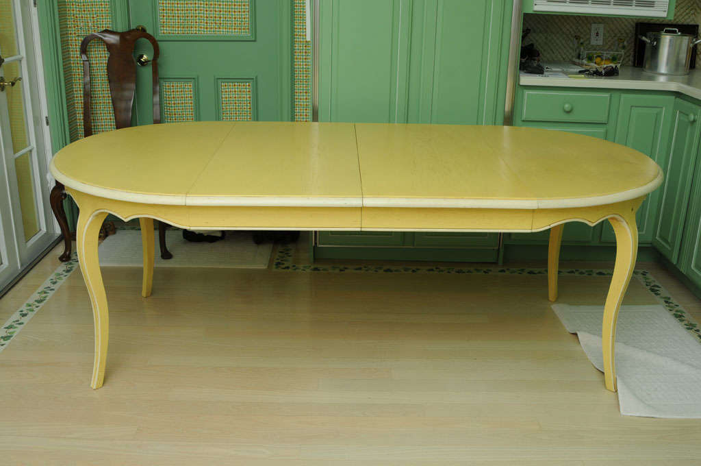 Late 20th Century French Provencal Painted Oak Dining Table with Two Leaves