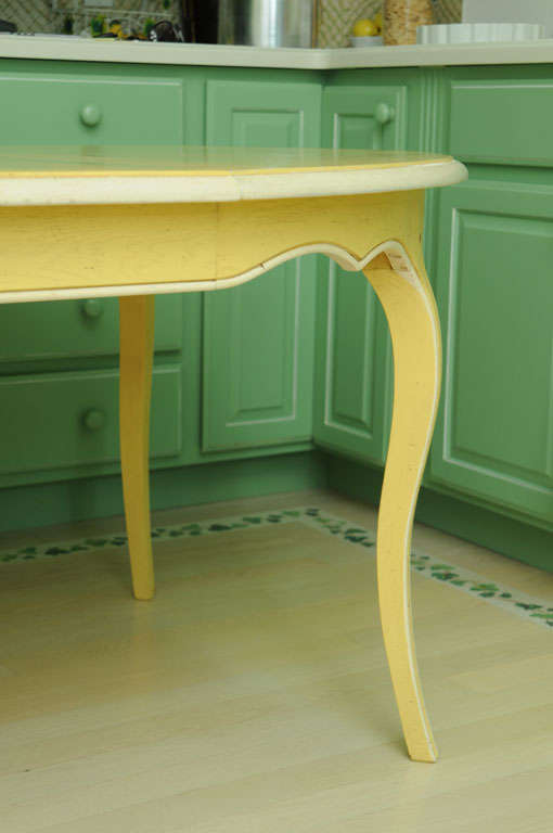 French Provencal Painted Oak Dining Table with Two Leaves 1