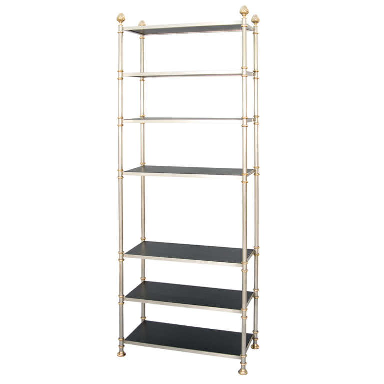 maison jansen stainless steel and brass etagere at 1stdibs. Black Bedroom Furniture Sets. Home Design Ideas