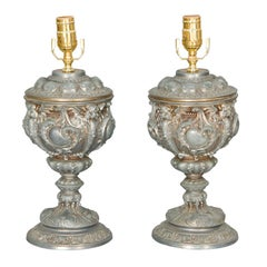 Pair of 19c. Well Articulated Cast Spelter Urn Lamps