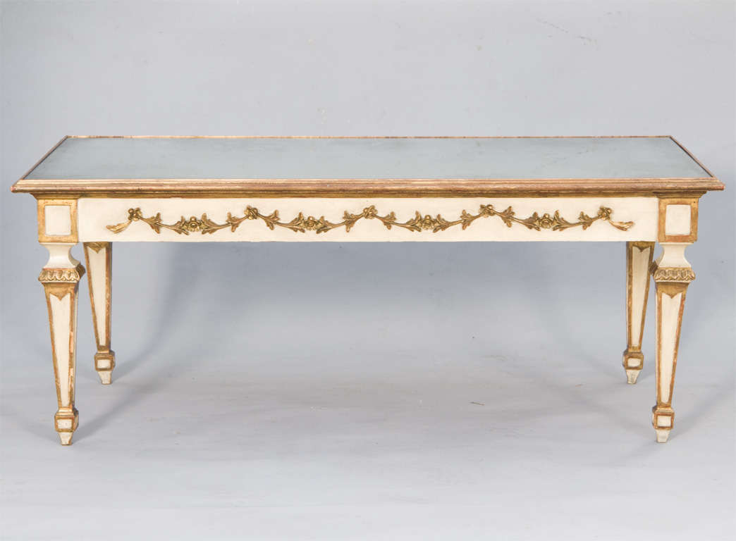 Painted And Parcel Gilt Coffee Table With Mirrored Top For Sale At 1stdibs